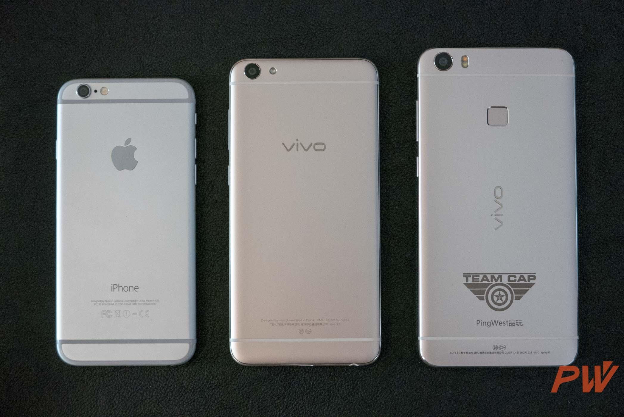 vivo X7 对比 iPhone 6、vivo Xplay 5s