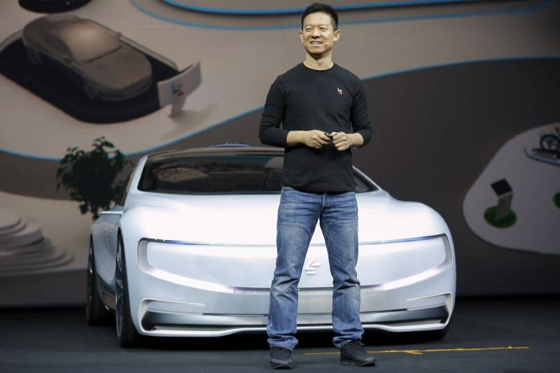 Jia Yueting, co-founder and head of Le Holdings Co Ltd, also known as LeEco and formerly as LeTV, unveils an all-electric battery