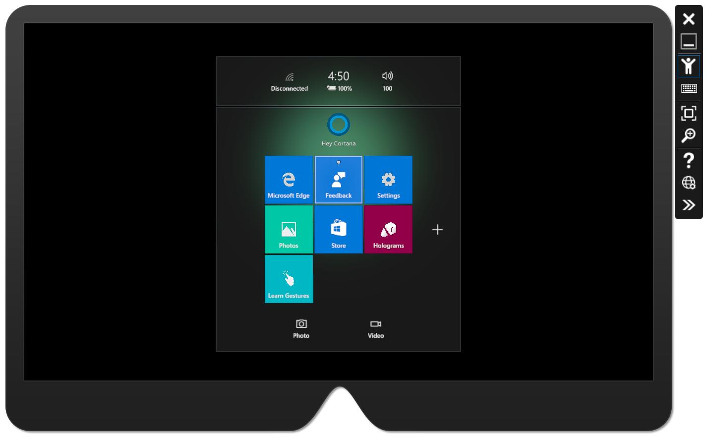 HoloLens 上的操作系统的界面