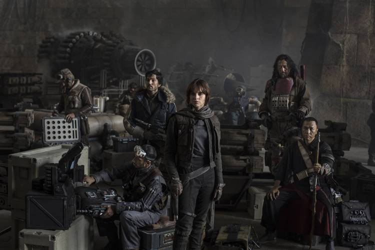 Star Wars: Rogue One..L to R: Actors Riz Ahmed, Diego Luna, Felicity Jones, Jiang Wen and Donnie Yen..Photo Credit: Jonathan Olley..?© 2016 Lucasfilm Ltd. All Rights Reserved.