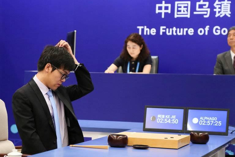 柯洁与AlphaGo的对阵现场(图源:The New York Times)
