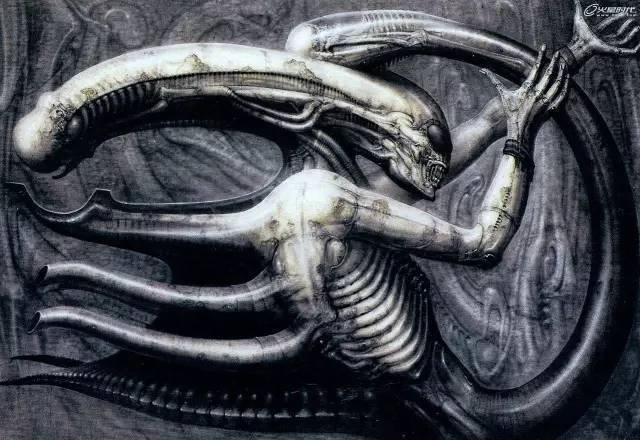H.R.吉格的画作《死灵IV》,导演就是看了这幅画决定请H.R.吉格设计异形的