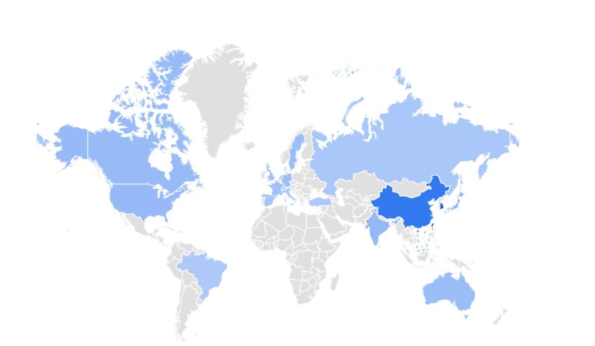 """中国大陆已经成为Google搜索关键词""""Deep Learning""""最频繁的地区,即便这里不能正常使用Google"""