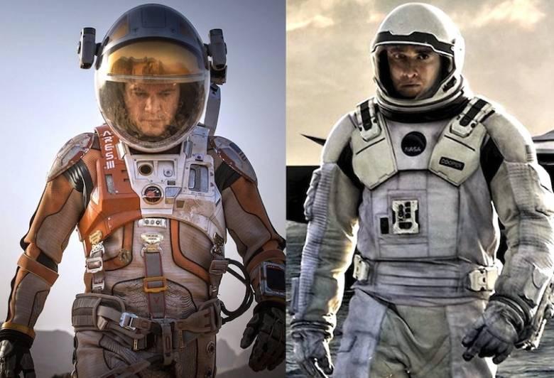 左《火星救援》;右《星际穿越》